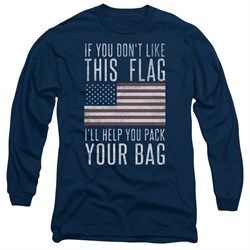 Image of American Flag Long Sleeve Shirt Pack Your Bag Navy Tee T-Shirt