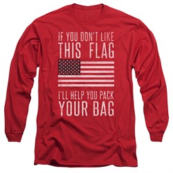 Image of American Flag Long Sleeve Shirt Pack Your Bag Red Tee T-Shirt