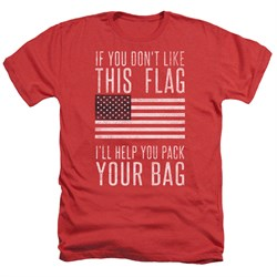 Image of American Flag Shirt Pack Your Bag Heather Red T-Shirt