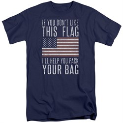 Image of American Flag Shirt Pack Your Bag Navy Tall T-Shirt
