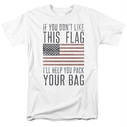 Image of American Flag Shirt Pack Your Bag White T-Shirt