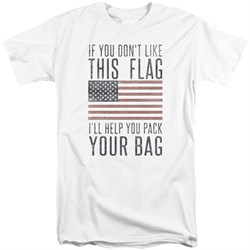 Image of American Flag Shirt Pack Your Bag White Tall T-Shirt