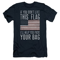 Image of American Flag Slim Fit Shirt Pack Your Bag Navy T-Shirt