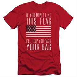 Image of American Flag Slim Fit Shirt Pack Your Bag Red T-Shirt