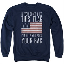 Image of American Flag Sweatshirt Pack Your Bag Adult Navy Sweat Shirt