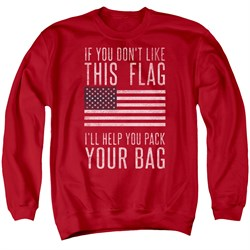 Image of American Flag Sweatshirt Pack Your Bag Adult Red Sweat Shirt