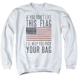 Image of American Flag Sweatshirt Pack Your Bag Adult White Sweat Shirt