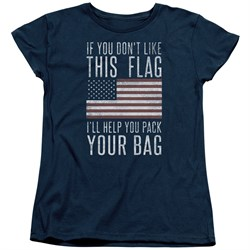 Image of American Flag Womens Shirt Pack Your Bag Navy T-Shirt