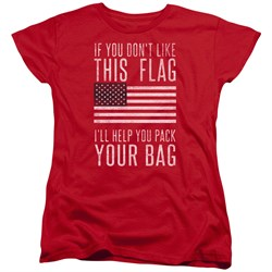 Image of American Flag Womens Shirt Pack Your Bag Red T-Shirt