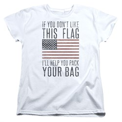 Image of American Flag Womens Shirt Pack Your Bag White T-Shirt