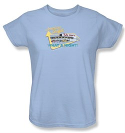 Image of American Graffiti Ladies T-shirt Movie Mels Drive In Light Blue Shirt