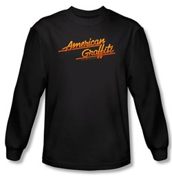Image of American Graffiti Long Sleeve T-shirt Movie Neon Logo Black Tee Shirt