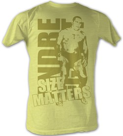 Image of Andre The Giant T-Shirt Size Gold Wrestling Yellow Heather Tee Shirt