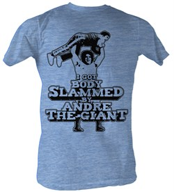 Image of Andre The Giant Shirt Slammed Wrestling Light Blue Heather Adult Tee