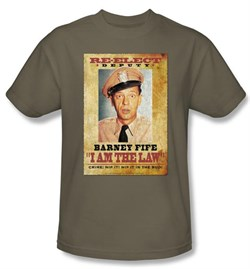 Image of Andy Griffith Show Kids Shirt Barney Fife I Am The Law Safari Green