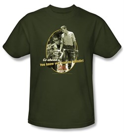 Image of Andy Griffith Show T-shirt - GONE FISHING Army Green Adult Tee