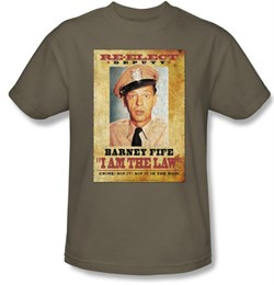 Image of Andy Griffith Show Shirt Barney Fife I Am The Law Safari Green T-Shirt