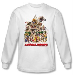Image of Animal House Long Sleeve T-shirt Movie Poster Art White Tee Shirt