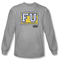 Image of Animal House T-shirt Faber University Athletic Heather Long Sleeve Tee