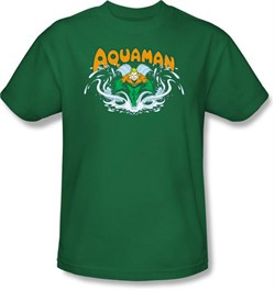 Image of Aquaman T-shirt - Aquaman Splash Adult Kelly Green Tee