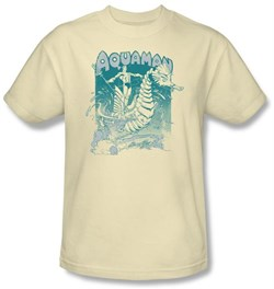 Image of Aquaman T-shirt - Catch A Wave DC Comics Adult Cream Tee