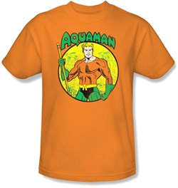 Image of Aquaman T-shirt - DC Comics Superhero Adult Orange Tee