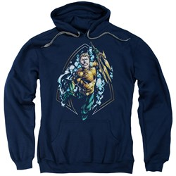 Image of Aquaman Hoodie Thrashing Navy Sweatshirt Hoody