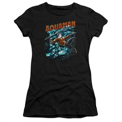 Aquaman Juniors Shirt Bubbles Black T-Shirt