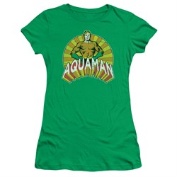 Aquaman Juniors Shirt Hands On Hips Kelly Green T-Shirt