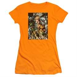 Image of Aquaman Juniors Shirt King Of Atlantis Orange T-Shirt