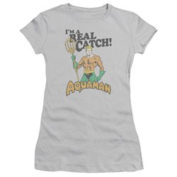 Image of Aquaman Juniors Shirt Real Catch Silver T-Shirt