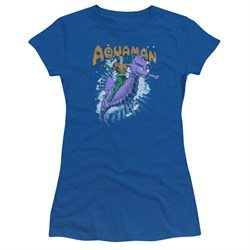 Aquaman Juniors Shirt Ride Free Royal Blue T-Shirt