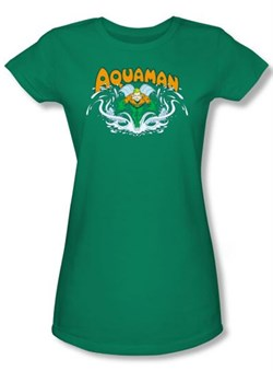 Image of Aquaman Juniors T-shirt - Aquaman Splash Kelly Green