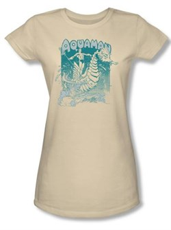 Image of Aquaman Juniors T-shirt - Catch A Wave DC Comics Cream