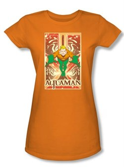 Image of Aquaman Juniors T-shirt - DC Comics Aquaman Orange