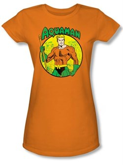 Image of Aquaman Juniors T-shirt - DC Comics Superhero Orange