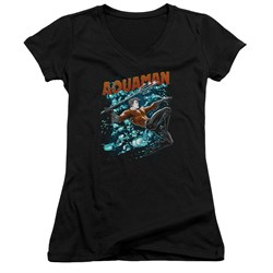 Image of Aquaman Juniors V Neck Shirt Bubbles Black T-Shirt