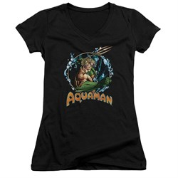 Image of Aquaman Juniors V Neck Shirt Ruler Of The Seas Black T-Shirt