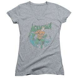 Aquaman Juniors V Neck Wave Athletic Heather T-Shirt