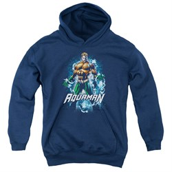 Image of Aquaman Kids Hoodie Water Powers Navy Youth Hoody