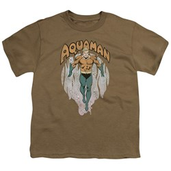 Image of Aquaman Kids Shirt From The Depths Safari Green T-Shirt