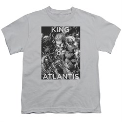 Image of Aquaman Kids Shirt King Of Atlantis Silver T-Shirt