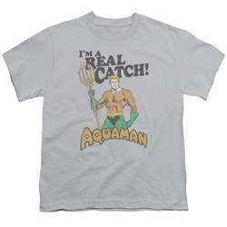 Image of Aquaman Kids Shirt Real Catch Silver T-Shirt