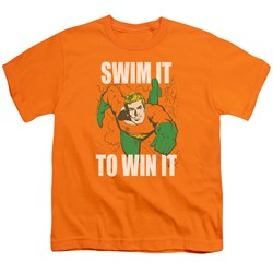 Image of Aquaman Kids Shirt Swim It Orange T-Shirt