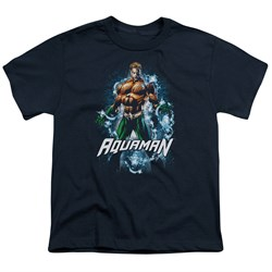 Image of Aquaman Kids Shirt Water Powers Navy T-Shirt