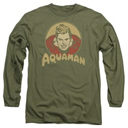 Image of Aquaman Long Sleeve Shirt Aqua Circle Olive Green Tee T-Shirt