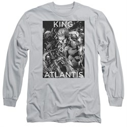 Image of Aquaman Long Sleeve Shirt King Of Atlantis Silver Tee T-Shirt