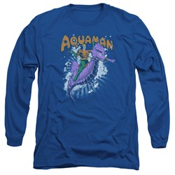 Image of Aquaman Long Sleeve Shirt Ride Free Royal Blue Tee T-Shirt