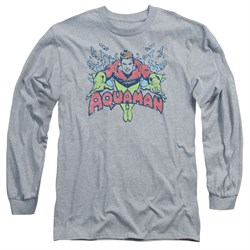 Image of Aquaman Long Sleeve Shirt Splish Splash Athletic Heather Tee T-Shirt