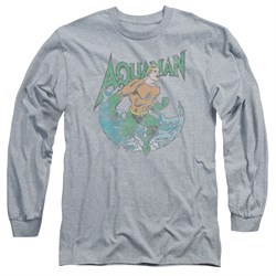 Aquaman Long Sleeve Shirt Wave Athletic Heather Tee T-Shirt